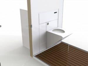 Des toillettes design blanc et bois gain de place
