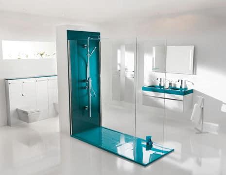 Une douche à l'italienne design et colorée @Ambiance Bain